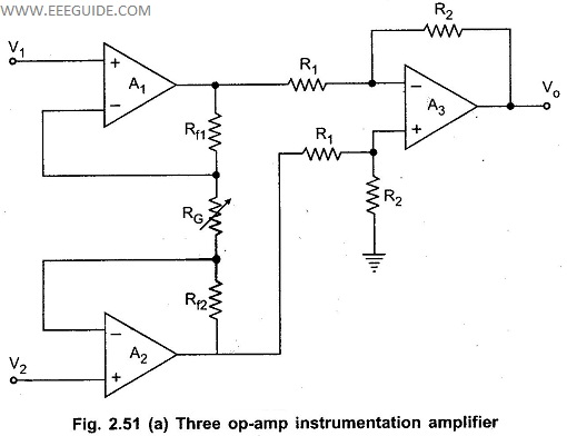 three op amp instrumentation amplifier rh eeeguide com Simple Amplifier Circuit MOS FET Amplifier Circuit