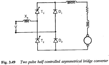 Two pulse half controlled bridge converter