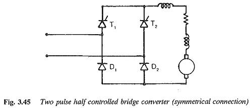 Two pulse half controlled bridge converter