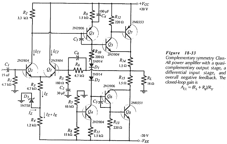 BJT Power Amplifier with Differential Input Stages
