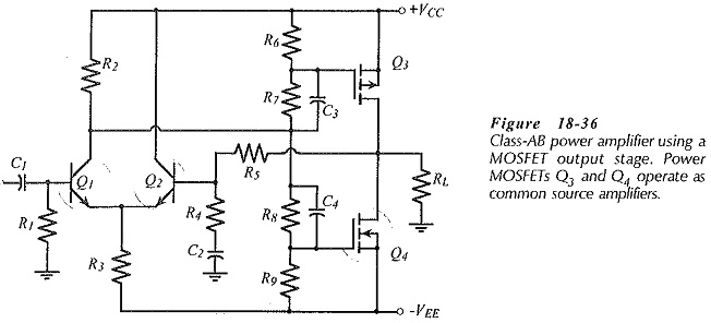 Complementary MOSFET Common Source Power Amplifier