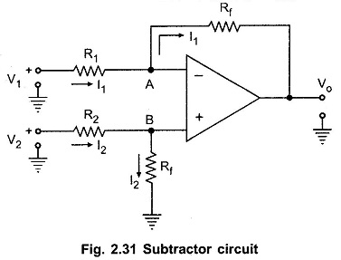 Subtractor using Op Amp or Difference Amplifier Circuit
