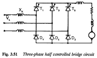 Three phase half controlled bridge circuit