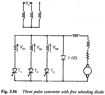 Three pulse converter with freewheeling diode