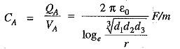 Capacitance of Three Phase Overhead Line