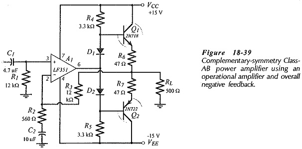 BJT Power Amplifier with Op Amp Driver | Bootstrapping Capacitors