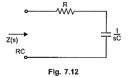 RC Driving Point Impedance function
